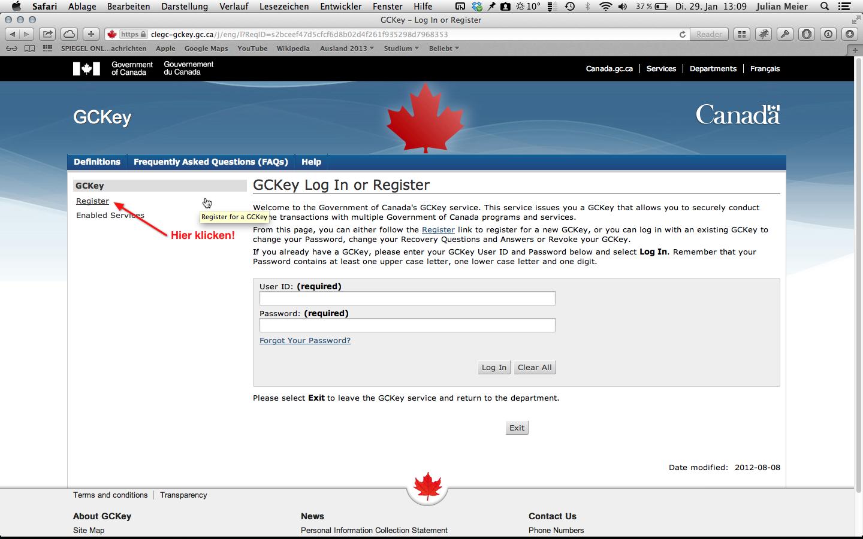 Anmeldung GCKey: Schritt 5