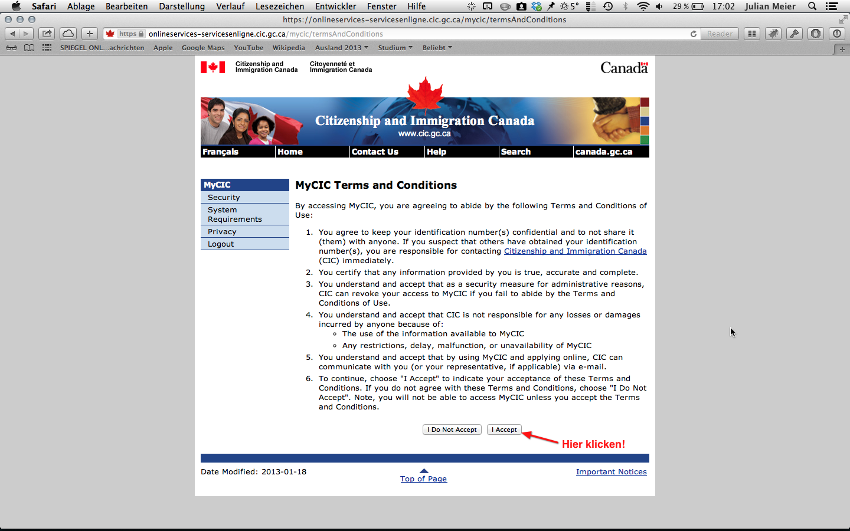 Anmeldung Bewerbungszentrale: Schritt 3