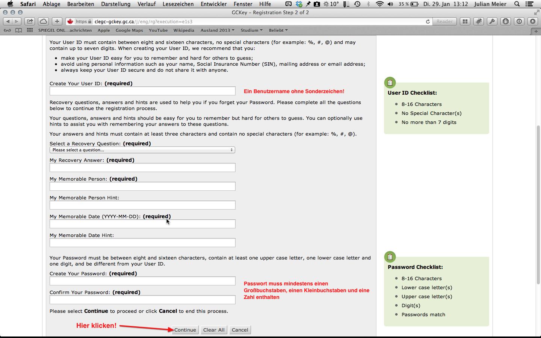 Anmeldung GCKey: Schritt 7
