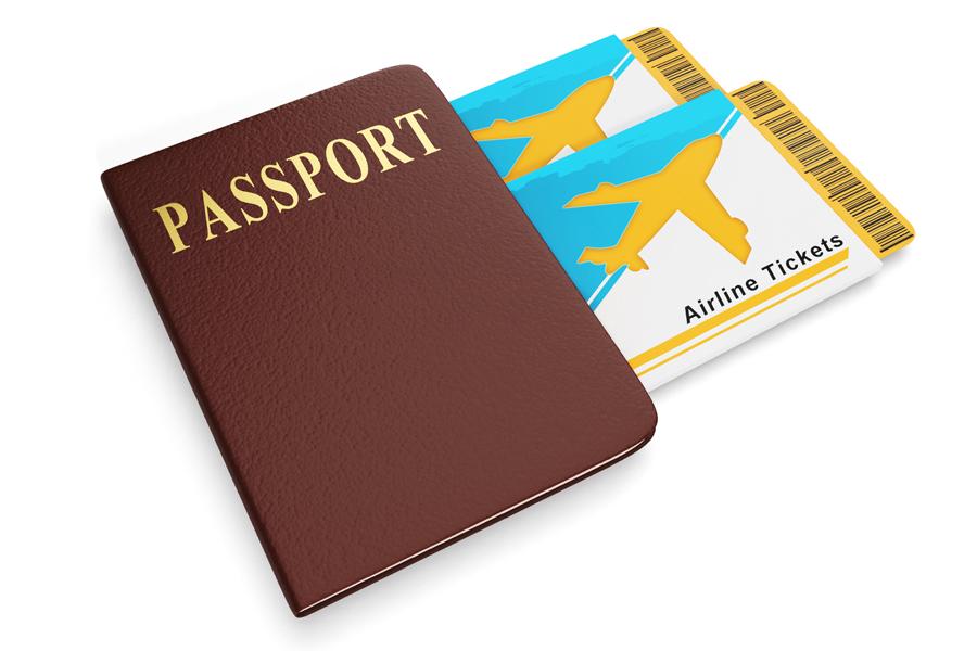 Reisepass mit Flugtickets