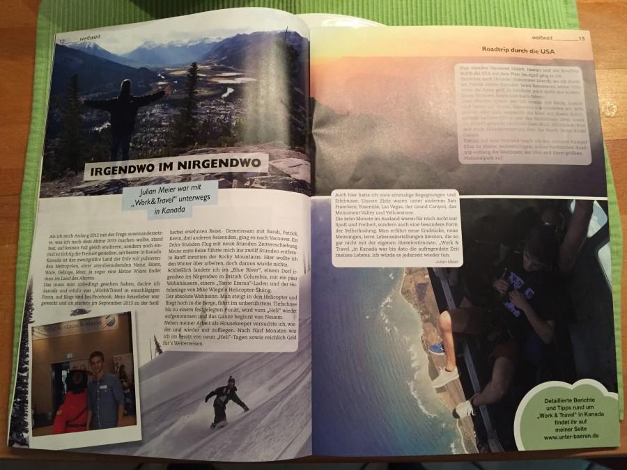 Nach meiner Rückkehr schrieb ich für die Jugendzeitschrift NewGenerationX einen Artikel über meine Zeit in Kanada. Dies zeigt den Artikel in der gedruckten Ausgabe.